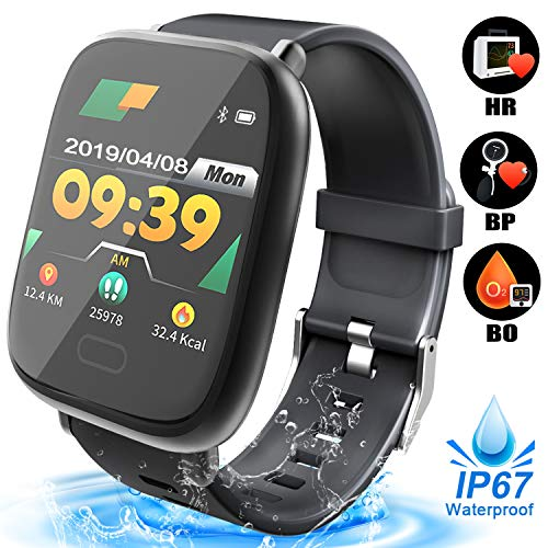 Smart Watch for Men - Waterproof Fitness Tracker with Blood Oxygen Monitor, Heart Rate Blood Pressure Calorie Pedometer Run Activity Tracker Watch Sport Outdoor Wristband Summer Travel Gifts