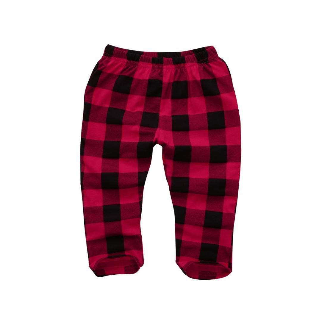 Fineser Toddler Baby Boys Girls Plaid Printed Long Pants Elastic Waist Cute Trousers