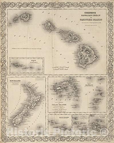 Samoa Map - Historic Map | 1866 Hawaii. New Zealand. Fiji. Tonga. Samoa. Society Islands. Marquesas. Galapagos Islands | Vintage Wall Art | 44in x 55in