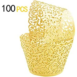 GOLF 100Pcs Cupcake Wrappers | Artistic Bake Cake Paper Filigree Little Vine Lace Laser Cut Liner Baking Cup Wraps Muffin CaseTrays for Wedding Party Birthday Decoration (Gold)