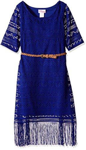Bloome Big Girls' Aztec Crochet Knit Fashion Dress with Fringe Hem and Braided Belt, Blue, 12 Fringe Hem Dress