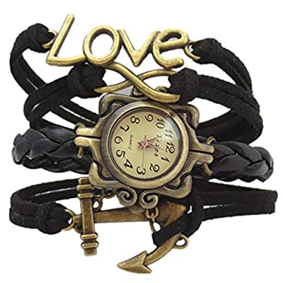 Deepon Fashion Vintage Cool Bronze Charms Ladies Leather Ladies Unique Gothic Infinite Love Love Anchor Wrap Leather Bracelet Quartz Watches