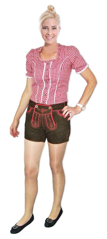 Kurze Damen Lederhose Maja Haselnuß Rot - Sexy Leder Shorts für Oktoberfest und Kirchweih mit Stickerei