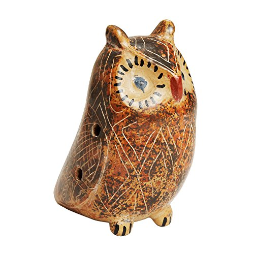 Rust And Ceramic Ocarina 'Folk Art Owl Ocarina' ()