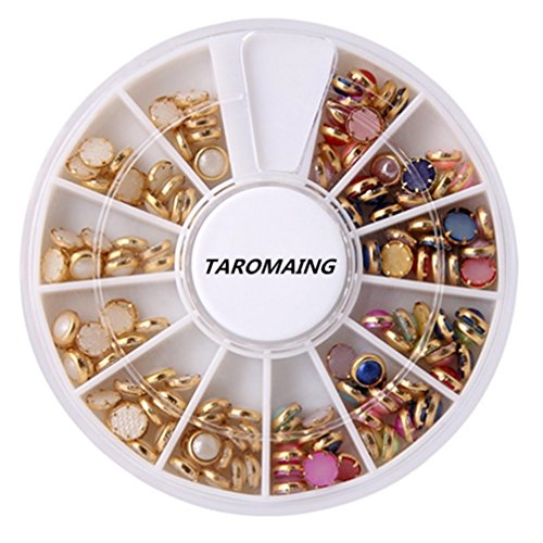 TAROMAING Pretty Gold Metal Framed Multicolored Pearl Nail Polish Art Fashion Accessory Stud Set for Nail Art DIY Decoration