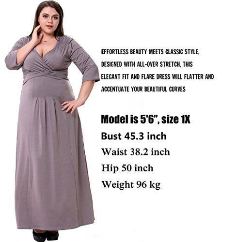 Sapphyra Women's Plain Low Cut V Neck Half Sleeves Fitted Going Out Long Dress, Light Coffee, 5X Plus