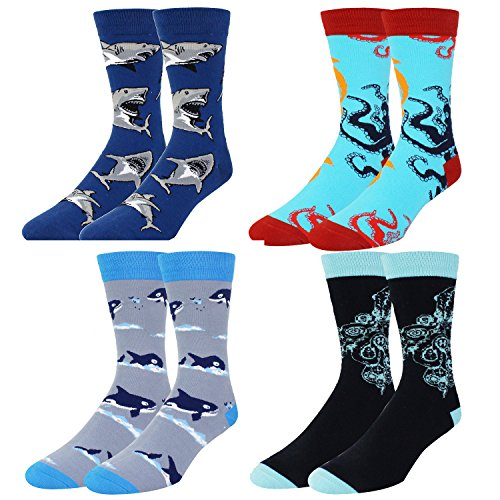 Novelty Cool Crazy Funny Dress Socks,Colorful Cotton Crew Socks, Shark Whale Octopus Gifts for Men by Happypop