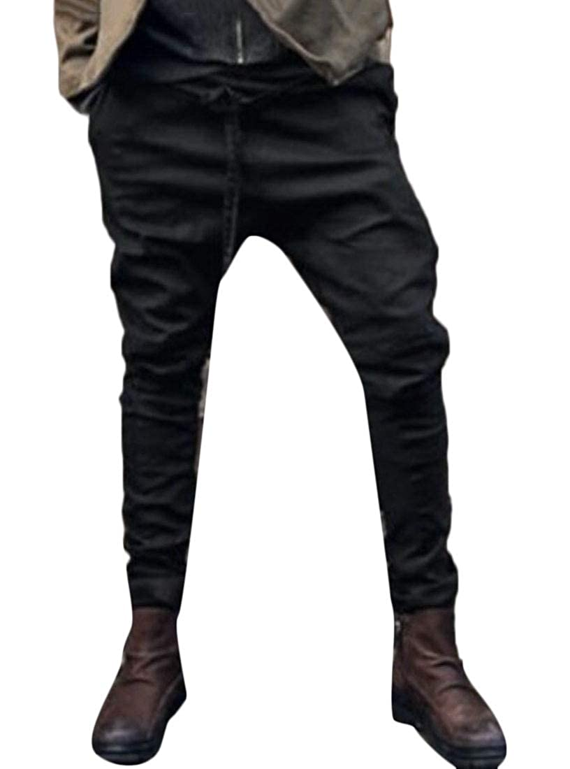 Yayu Mens Pants Casual Jogging Harem Pants Drop Crotch Loose Baggy Pants