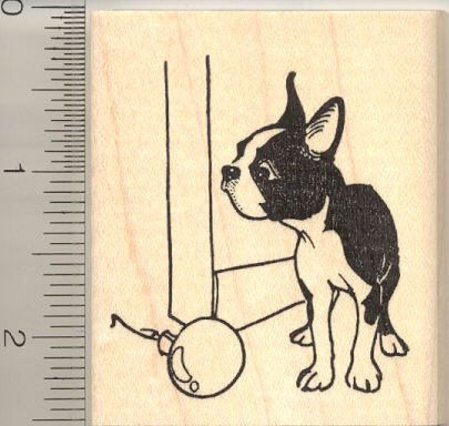 Christmas Boston Terrier with Christmas Ornament Rubber Stamp