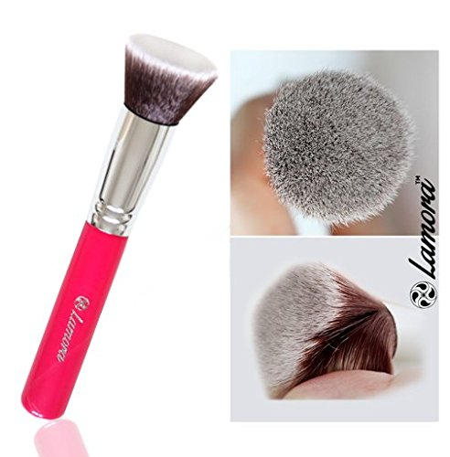 Foundation Brush Flat Top Kabuki - Perfect For Blending Liquid Makeup, Cream or Flawless Powder Cosmetics - Buffing, Stippling, Concealer - Premium Quality Synthetic Dense Bristles Lamora Beauty