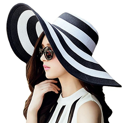 Itopfox Womens Beachwear Sun Hat Striped Straw Hat Floppy Big Brim Hat Black,One Size(22inch-22.8inch Circumference) ()