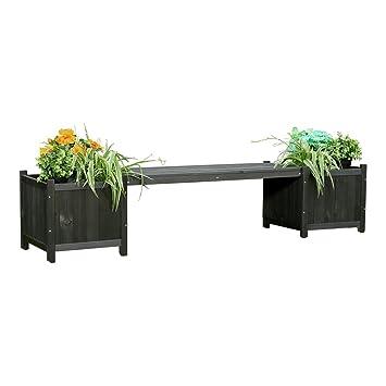 Amazon.de: Melko Gartenbank 2in1 mit Zwei Blumenkästen Blumenkübel ...
