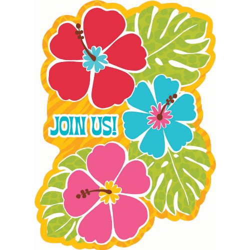 Hawaiian Summer Luau Party Hibiscus Postcard Invitation , Paper, 6