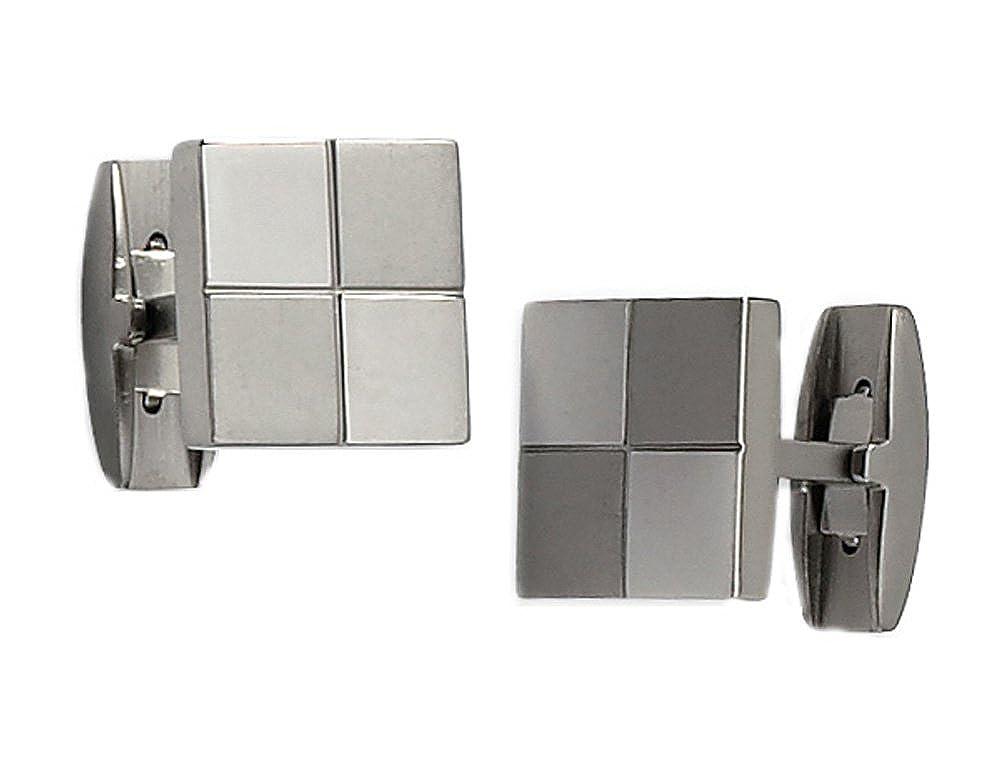 Gem And Harmony Mens Titanium Checker Cuff Links