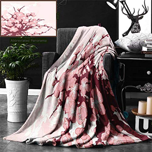 Unique Custom Digital Print Flannel Blankets Nature Spring Cherry Blossom Flowers Floral Abstract Branch Artwork Print Light Pi Super Soft Blanketry for Bed Couch, Throw Blanket 70 x 50 Inches