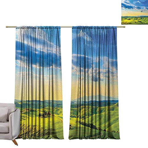 berrly Grommet Top Drapes Tuscany,Sunset in Tuscany Rural Farmand Cypresses Trees Sunlight Volterra Italy, Sky Blue Pale Green W84 x L108 Living Room Drapes