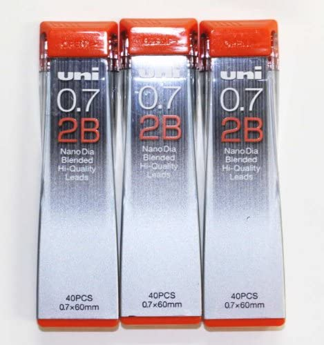 5 tubes x Uni Nano Dia Mechanical Pencil Leads HB 0.5mm x  40pcs x 60mm
