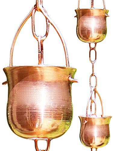 Rain Chain - Pure Copper - by Golden Canary, Ready to Install in Gutter, Decorative Downspout Replacement for Collecting Water in a Barrel