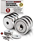 "Strong Neodymium Cup Magnets (6 Pack) - 95 lbs Holding Force Rare Earth Magnets - 1.26"" x 0.3'' Disc Countersunk Hole Round Base Pot Magnets - Includes Screws and Mounting Strike Plates"