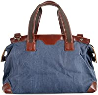 CLELO B520 Large Canvas Leather Travel Tote Luggage Duffel Bag