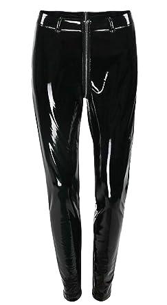 a6253207e8cb0 Gocgt Women's New Stretch Leggings Shiny Liquid Metallic High Waist Skinny  Pants Black XXS