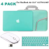 """Tourquoise Matte Hard Case for MacBook Air 11.6""""-IC ICLOVER Rubberized (Rubber Coated) Shell Case + Silicone Keyboard Cover Protector + Sleeve Bag+ Wireless Mouse for MacBook Air 11 inch A1370/A1465"""