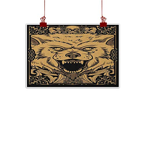 Caramel Agate - Sunset glow Fabric Cloth Rolled Wolf,Angry Carnivore Animal Face with Skull Ornamental Curlicues Swirls Lines Frame, Black Pale Caramel 36