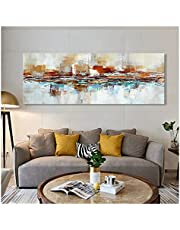 CCZWVH Abstract schilderij op canvas poster print wall art zwart en gouden abstracte foto' s op de muur woonkamer Cuadros decor 16x48 inch Sin Marco