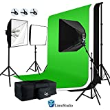LimoStudio 2400W Softbox Light Boom Stand Lighting Kit with Photograpghy Studio 10 x 20 ft Chromakey Green, Black, White Backdrop Background Support Kit, AGG387