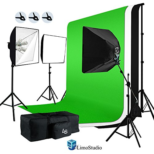 LimoStudio 2400W Softbox Light Boom Stand Lighting Kit with Photograpghy Studio 10 x 20 ft Chromakey Green, Black, White Backdrop Background Support Kit, AGG387 by LimoStudio