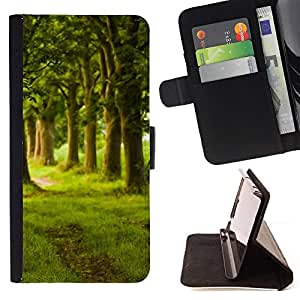 BullDog Case - FOR/Sony Xperia Z2 D6502 / - / Nature Beautiful Forrest Green 149 /- Monedero de cuero de la PU Llevar cubierta de la caja con el ID Credit Card Slots Flip funda de cuer