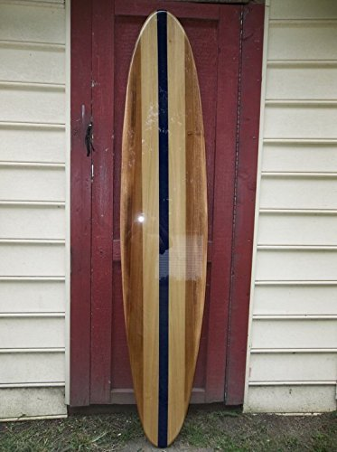Six foot surfboard wall hanging. Poplar surfboard wall art with navy blue center stringer. by Flyone Boardshop