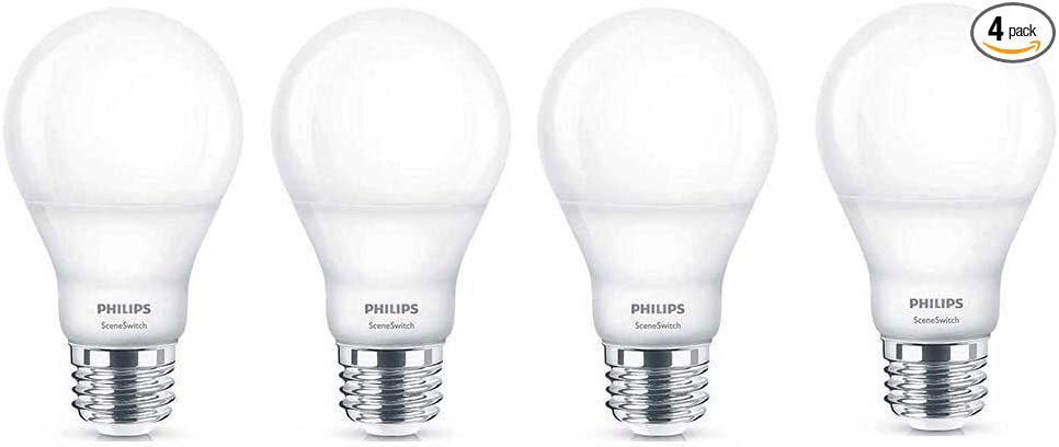 Philips Led 464867 60 Watt Equivalent Sceneswitch Daylight Soft White Warm Glow A19 Led Light Bulb 4 Pack Color Change 4 Piece
