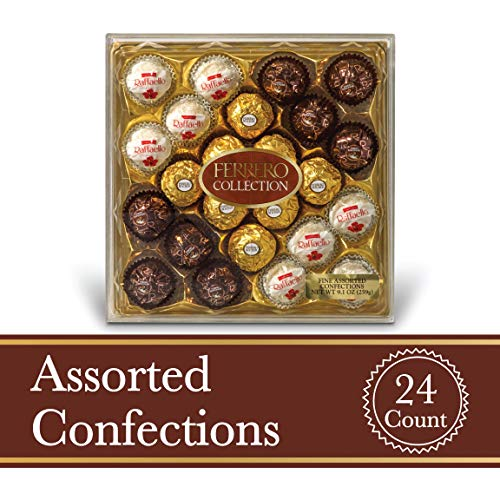 Ferrero Rocher Fine Hazelnut Milk Chocolates, 24 Count, Assorted Coconut Candy and Chocolate Gift Box, Easter Basket Stuffers, 9.1 oz
