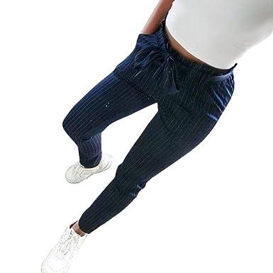 OHQ Pantalones Mujer Elegante Cintura Alta Estiramiento Gasa Pantalones Pitillo Harem De Tirantes Casual con CordóN