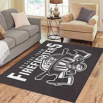 Semtomn Area Rug 5' X 7' Firefighters Emblem Label Fireman Head in Helmet and Two Home Decor Collection Floor Rugs Carpet for Living Room Bedroom Dining Room