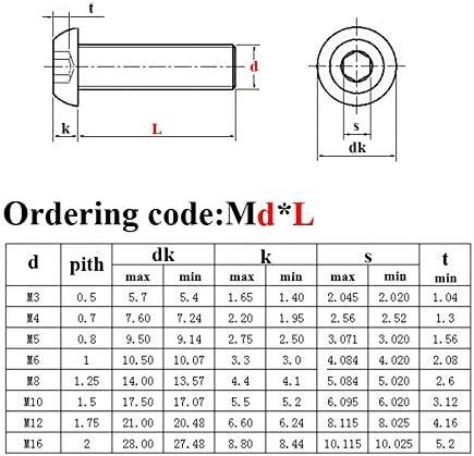 Taille : M8 X 16 5pcs M2 M3 M4 M5 M2.5 M6 M8 Niveau 10.9 Vis en Acier alli/é /à Six pans Creux /à t/ête Ronde Cap Noir Vis Meubles Fixation Boulon