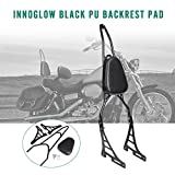 INNOGLOW Motorcycle PU Backrest Rear Passenger Driver Rider Backrest Detachable Sissy bar Kit with Leather Back Rest Seat Pad Fits For Harley Sportster XL883 XL1200 04-UP(Black)