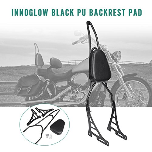 INNOGLOW Motorcycle PU Backrest Rear Passenger Driver Rider Backrest Detachable Sissy bar Kit with Leather Back Rest Seat Pad Fits For Harley Sportster XL883 XL1200 04-UP(Black) ()
