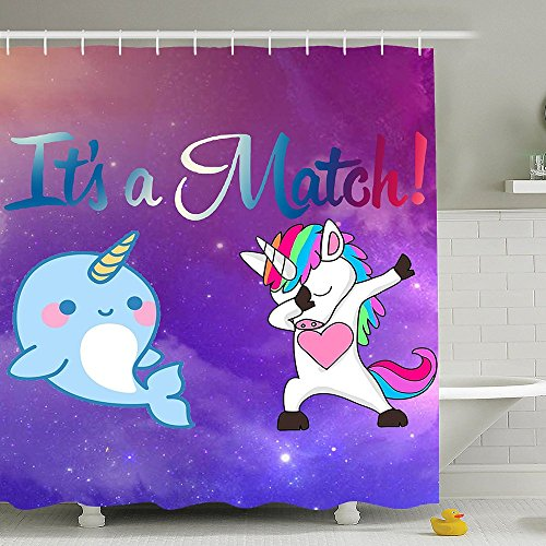 BESTSC Top Quality Purple Shower Curtains - Dabbing Unicorn And Cute Narwhal Dab Dance Match Bath Curtain - Waterproof Polyester Fabric Bathroom Decor Set With Hooks - 72'' X 72'' by BESTSC
