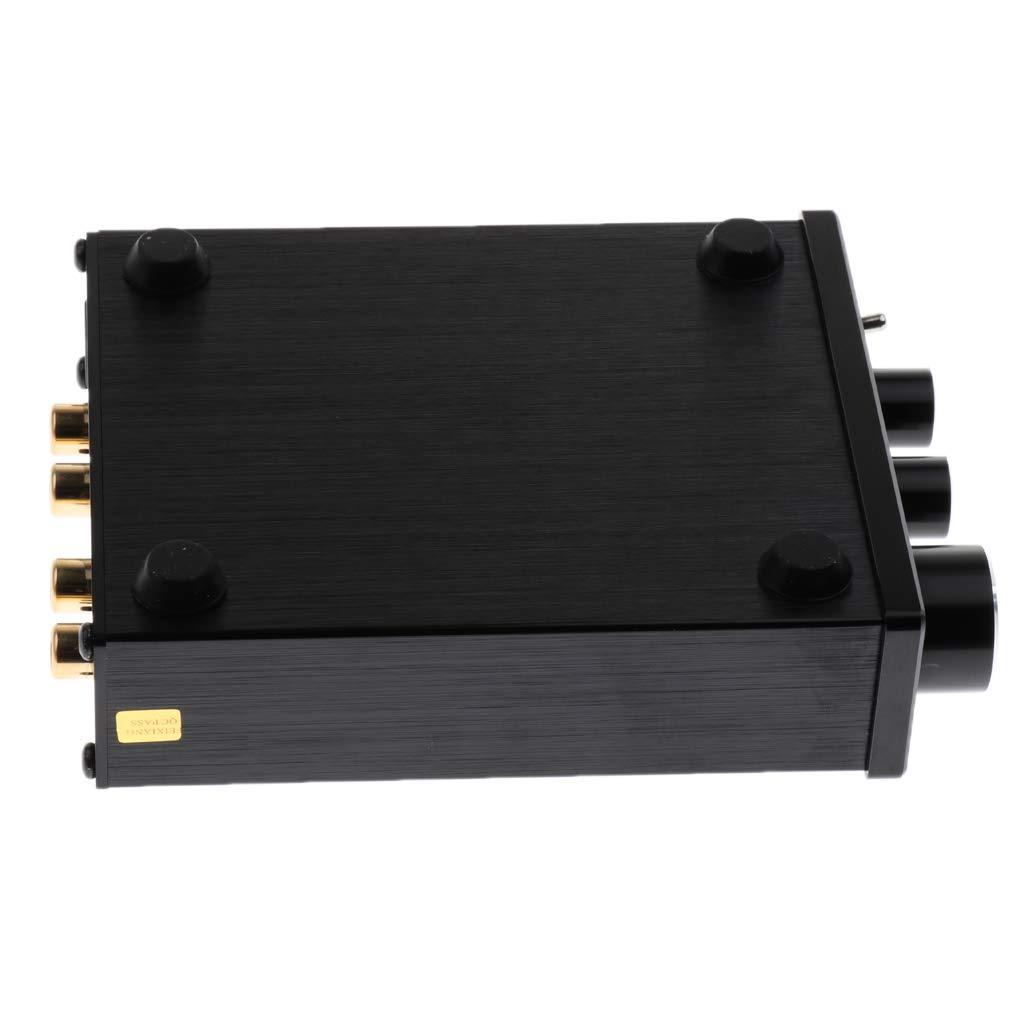 P Prettyia Amplificateur Audio Pr/éamplificateur St/ér/éo Contr/ôle de tonalit/é Noir 110x90x30mm