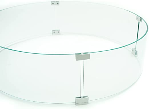 AMS Fire Pit Table Round Glass Wind Guard 36 x 8 H