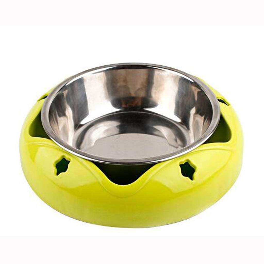 Beige Pet Bowl Stainless Steel Dog Bowl NonSlip Dualuse Cat Bowl Drinking Water Single Bowl (color   Beige)