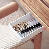 inDomit Pencil Tray Drawer Pop-up Self-adhesive Pen Phone Storage Under Desk Organizer (Pink & White)