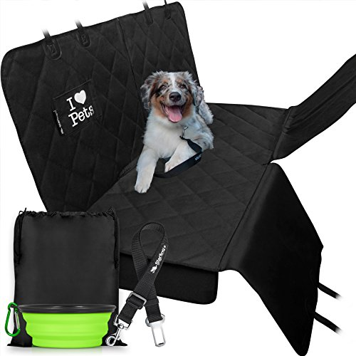 Hearts Bucket Seat Cover (Dog Car Seat Covers for Backseat by Starling's Hammock Style Latest Model, Heavy Duty, Waterproof, Non-Slip & Vents for All 3 Seat Belts Fits All Vehicles, SUV! W/ Dog Bowl & Pet Seat-belt)
