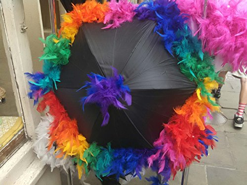 Rainbow Second Line Umbrella on BLACK- Festival Parasol- Jazz Fest French Quarter Fest New Orleans rainbow Party LGBT Gay Pride Decadence Same Sex Wedding (Quarter French Fest)