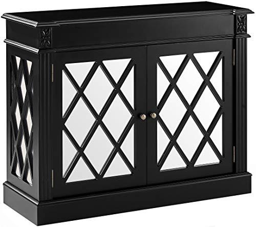 Crosley Furniture CF6117-BK Rialto Mirrored Accent Table, Distressed Black