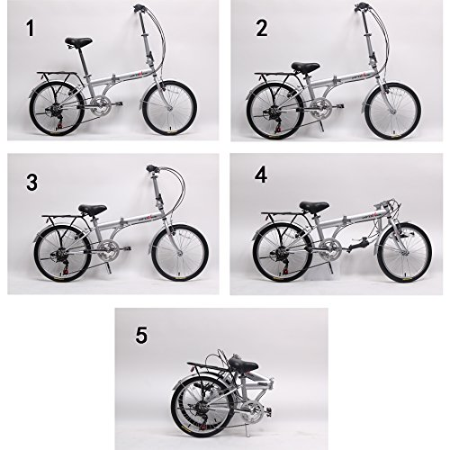 unYOUsual U transformer 20'' Folding City Bike Bicycle 6 Speed Shimano Gear Steel Frame Mudguard Rear Carrier Silver by IDS (Image #7)