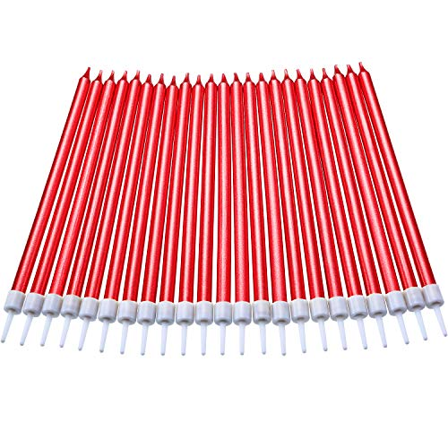 (Blulu 50 Pieces Birthday Cake Candles Thin Cake Cupcake Candles in Holders for Birthday Wedding Party Cake Decorations Supplies (Long, Red))