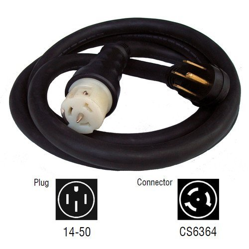 Generac 6391 75-Foot 50-Amp Generator Cord with NEMA 1450 Male End and CS6364 Female Locking End